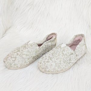 Toms Fuzzy White/Gold Canvas Slip On Shoes